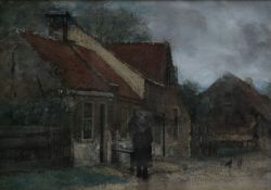 A framed and glazed watercolour, a figure in a farmyard, unsigned. H.37cm W.47cm