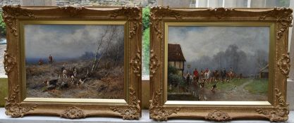 J B Noel, a pair of gilt framed oils on canvas, hunting scenes with riders and foxhounds, signed and