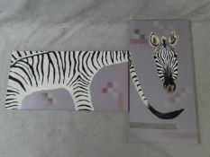 Two oils on canvas depicting an abstract zebra, unsigned. H.120 W.60cm