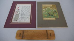 Two Indian Safavid watercolour paintings and a etched bamboo plaque. H.24.5 W.18.5cm (Largest