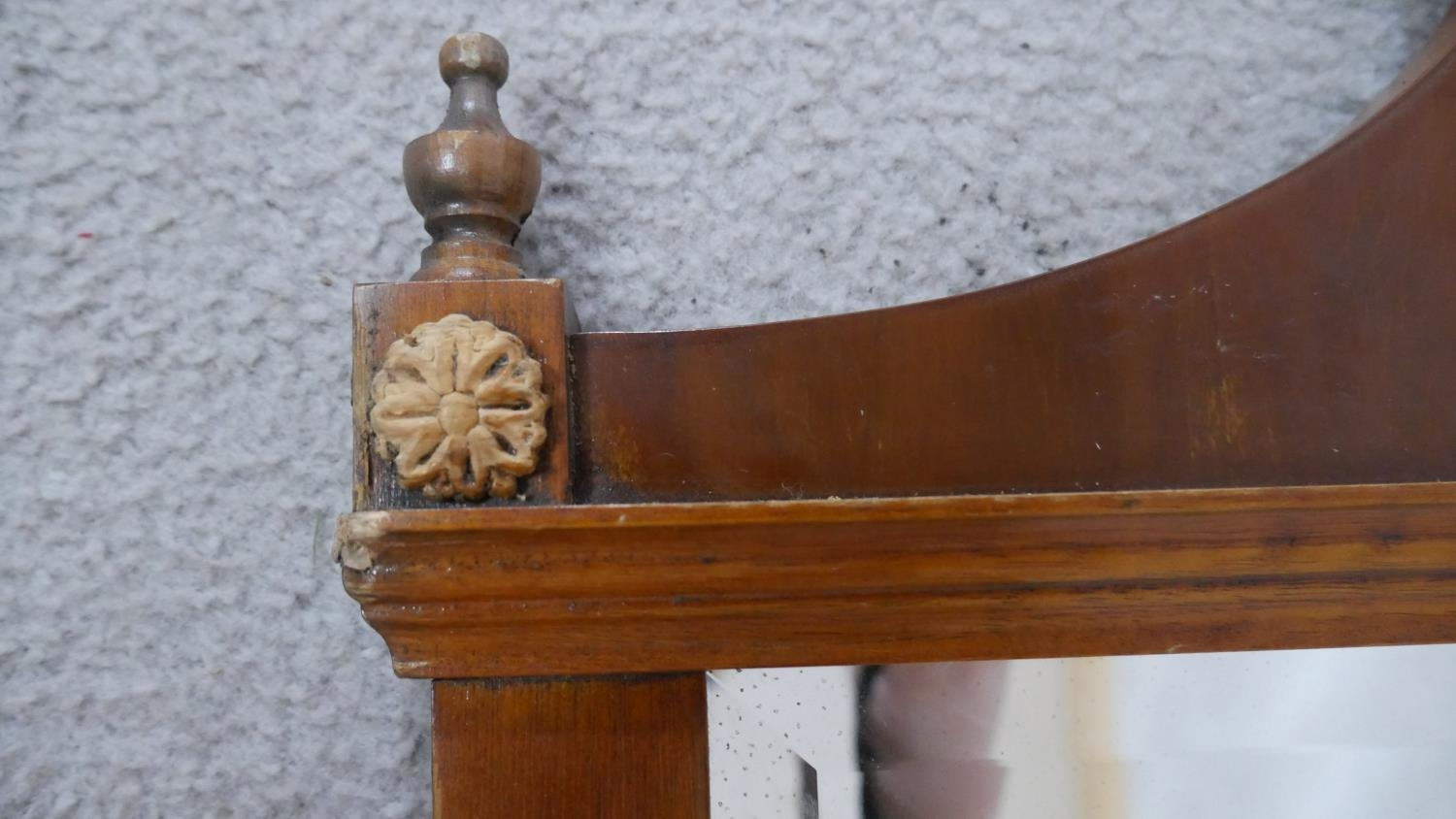 An Adam style yew framed wall mirror with inlaid patera and urn finials to the cresting and bevelled - Image 3 of 5