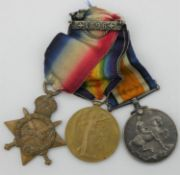 A group of Three WW1 medals, a 1914-1915 star medal with ribbon, a great war victory medal with