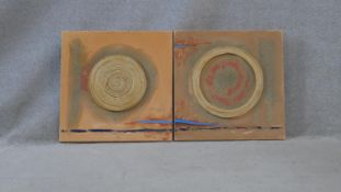Two abstract mixed media works on canvas, signed Naluyele, 2005. H.50 W.50cm (Each)