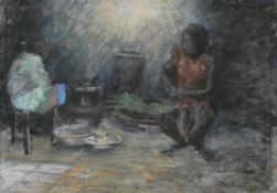 A large framed oil on canvas, interior scene, indistinctly signed and dated. H.94 W.128cm