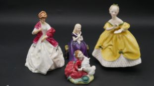 A collection of Royal Doulton porcelain figures. Including 'Home Again' of a little girl with her