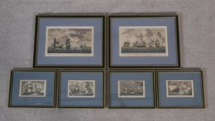 Six framed and glazed antique hand coloured naval engravings to feature 'Antelope packet approaching