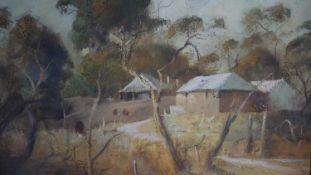 William Dobell (1899-1970), a framed oil on board, 'Summer Light' Australian village, signed,