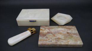 An alabaster lidded cigar box with Lapis Lazuli catch along with an alabaster and gilt metal cigar