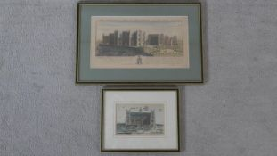 Two framed and glazed architectural hand coloured lithographs. One of 'The South-west view of