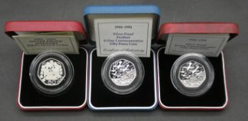 A 1994 Royal Mint silver proof Piedfort D-Day commemorative fifty pence coin, cased with