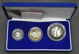 A cased 2003 Silver Proof Piedfort Collection comprising Two Pounds 2003 DNA Proof, One Pound 2003