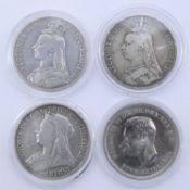 """Two 1891 Queen Victoria British Silver """"Jubilee Head"""" Crowns along with a 1898 LXII Queen Victoria"""