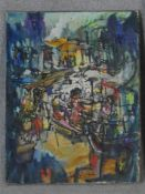 An oil on canvas depicting an abstract market place with café scene. Indistinctly signed. H.58 W.
