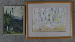 A framed and glazed watercolour of a forest, indistincly signed and dated along with a framed oil on