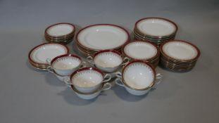 A part dinner service, Aynsley Durham, 6 dinner plates, soup bowls, side plates etc, maker's stamp