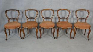 A set of five carved mahogany balloon back dining chairs with stuff over seats on cabriole supports.