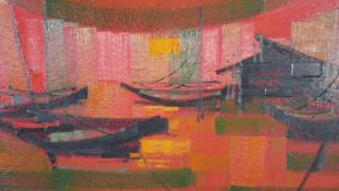 A framed oil on board, mid century abstract composition, boats in a sunset, signed See. H.55.5 W.