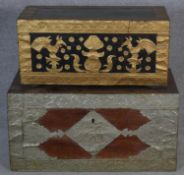 Two gilt and white metal applique detailed Indian chests with carrying handles, decorated with