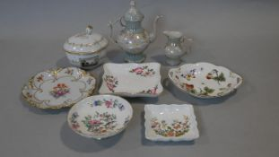 A collection of hand painted fine bone china. Including a lustre coffee pot with matching milk