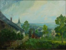 A gilt framed oil on canvas, Continental village in hilly landscape, signed E Toussaint. H.73 W.93cm