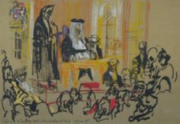 A framed and glazed screen print by Polish artist Felix Topolski (1907 - 1989). Titled 'Delivery