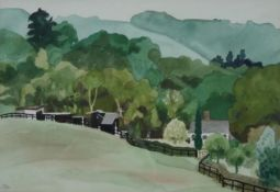 A framed and glazed watercolour, landscape, signed John Sewell, 1973. H.59 W.74.5cm