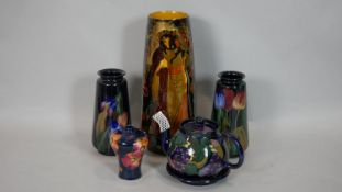 A collection of Royal Stanleyware Jacobean ceramics, a tall vase with figural gilded decoration, a