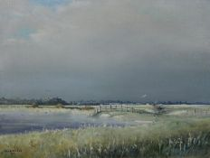 A framed oil on canvas by John Rootes. Titled 'Glimpse of winter sunshine, Pett Level'. Signed and