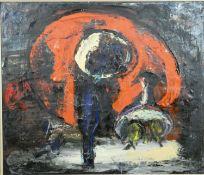 After Gustaaf Van Steenwegen (1905-1986), a framed oil on canvas, modernist still life. H.85 W.95cm