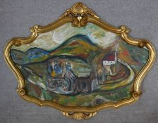 Julius Jakoby (1903-1985), oil on board, expressionist townscape with figures in carved giltwood