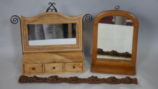 Two dressing table mirrors and an oak carving. H.38 W.47 D.14cm (Larger mirror)
