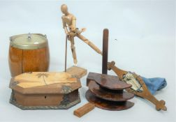 A metal bound parquetry inlaid box, a vintage articulated artist's mannequin, an oak coopered