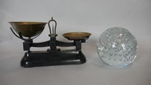 A set of vintage W&T Avery brass and painted iron 2lb weighing scales along with a large clear