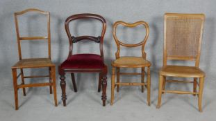 A miscellaneous collection of four 19th century dining chairs and bedroom chairs. H.92cm (Tallest)