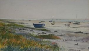A framed and glazed watercolour, boats at Regenville, signed and dated John Pearce. H.51 W.65.5cm