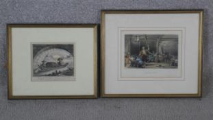 Two framed and glazed antique hand coloured lithographs. One of Chinese opium smokers and the