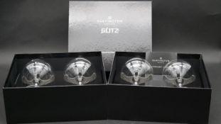 Four Boxed Dartington crystal 'Glitz' engraved and Swarovski crystal embellished cocktail glasses.