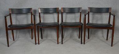 Henry Rosengren Hansen for Brande Mobelindustri, a set of four dining chairs with leather backs
