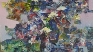 A framed oil on canvas, abstract Chinese figures, indistinctly signed. H.62.5 W.62.5cm