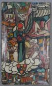 After Miklos Farkashazy (1895-1964), an abstract oil on canvas with figures. Signed. H.85 W.50cm