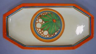 Clarice Cliff, Broth pattern A shape 334 sandwich tray, hand painted with a central roundel of green