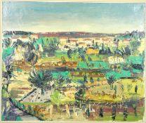 After Gustaaf Van Steenwegen (1905-1986), a gilt framed oil on canvas, extensive landscape. 86x75cm.