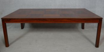 Heggen of Norway, a vintage parquetry topped coffee table with maker's label to the underside. H.