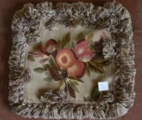 Pair of Aubusson style cushion covers with fruit and leaf design. L.40 W.45cm