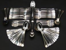 Large set of as new Christofle, Paris, Palme pattern silver plated cutlery. To include sixteen