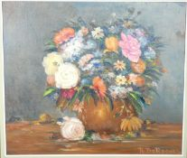 A framed oil on canvas, still life flowers, signed De Roover. 88x78cm approx.