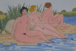 A framed and glazed watercolour, bathers, signed and dated Ursula Smith. H.40.5 W.50cm