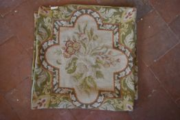 A pair of Aubusson style floral design cushion covers. L.52 W.52cm