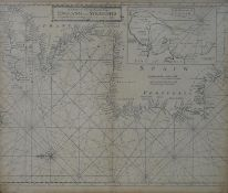 An antique framed and glazed engraved sailing chart of 'England to the Streights'. Sold by William