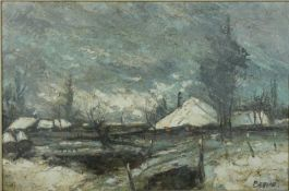 A framed oil on canvas, farmhouse in winter, signed Belnori. 93x108cm.